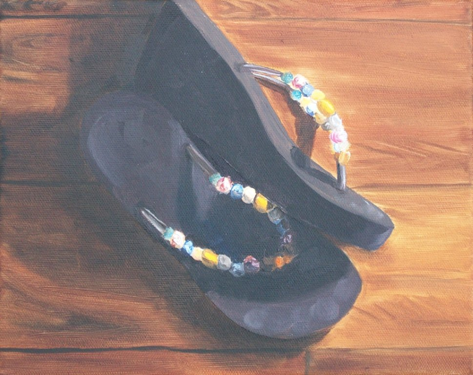 canvas shoes painting. Spring Beads – Oil On Canvas