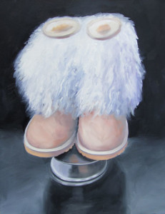 Fuzzy Wuzzy Was a Boot oil painting by Austin Artist Amy Hillenbrand