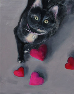 Be Mine Feline Oil Painting by Austin Artist Amy Hillenbrand