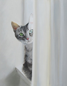 Pssst...Over Here Oil Painting by Austin Artist Amy Hillenbrand