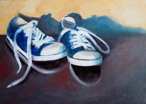 Lace 'em Up Blues Oil Paintng by Austin Artist Amy Hillenbrand
