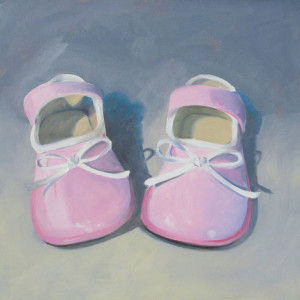 Baby Pink Patents Oil Painting by Austin Artist Amy Hillenbrand