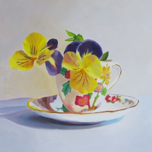Blooming Teacup Oil Painting by Austin Artist Amy Hillenbrand