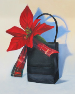 Merry Poinsettia Oil Painting by Artist Amy Hillenbrand