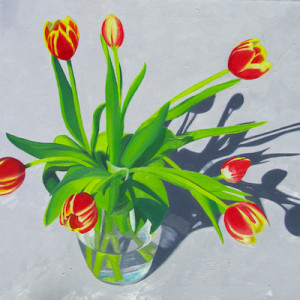 Mint Tulip Oil Painting by Artist Amy Hillenbrnad