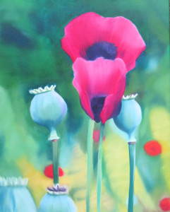 PoppyLand Oil Painting by Artist Amy Hillenbrnd
