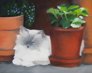 Purr-fect Pose Oil Painting by Artist Amy Hillenbrand (1)