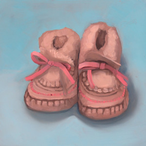 Snuggly, Cuddly and Warm Oil Painting by Artist Amy Hilenbrand