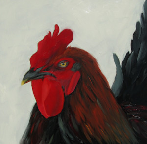 Who You Calling Chicken Oil Painting by Artist Amy Hillenbrand