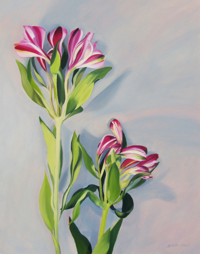 large floral painting, flower painting, painting of Lilies,oil painting of Lily, oil painting of pink Lily,