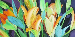 oil painting of flowers, original artwork for sale, original art online, oil painting 18 x 36, oil painting of day lily,