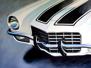 painting of 1973 Chevy Camero, painting of car, large painting of car