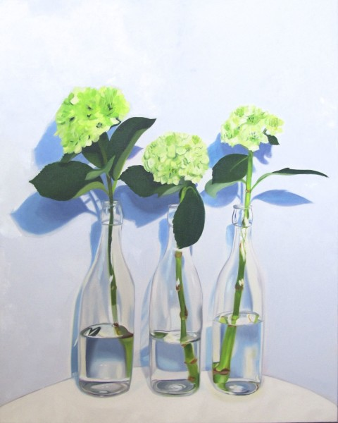 Three's Company, happy flower oil painting by Amy Hillenbrand,
