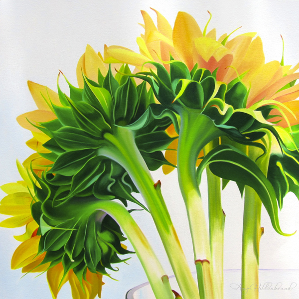 Large painting of yellow and green sunflowers