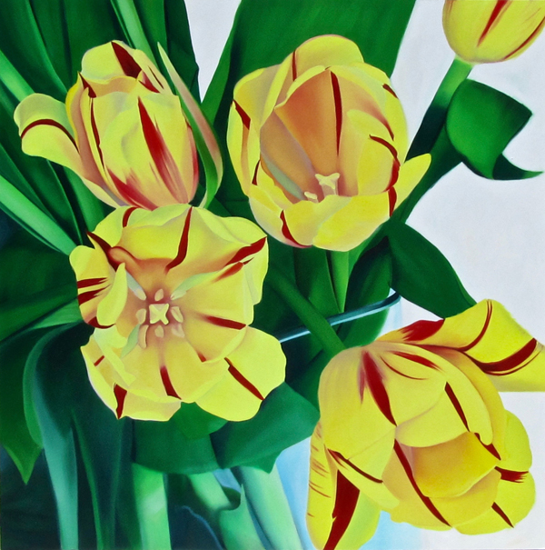 Large Yellow Tulip Painting with Green leaves