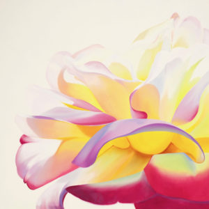 Large painting of a pink and yellow rose